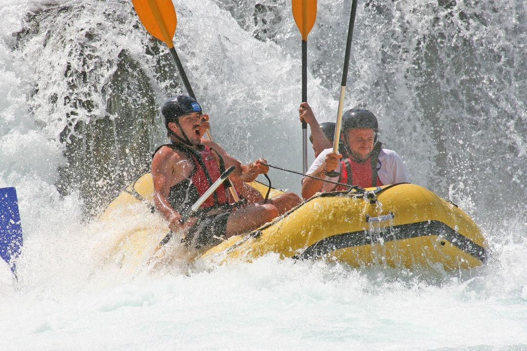 A group of friends rafting in Styria (Austria)